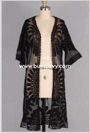 Ot-B {Shore To Shore} Black Sheer Lace Detailed Cardigan Outerwear