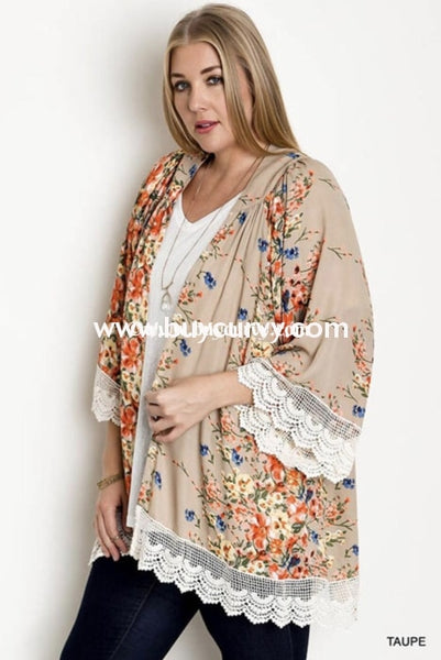 Ot-B {Thy Will Be Done} Beige Floral Cardigan Crochet Hem Outerwear