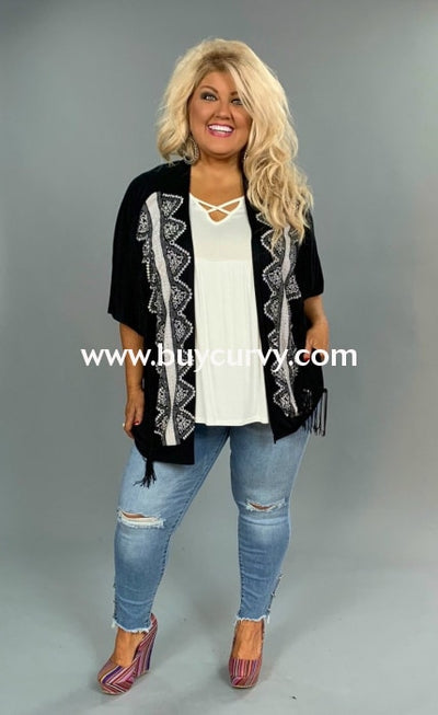 Ot-B Vocal Black Cardi With Stone Detail & Fringe Sale!! Outerwear