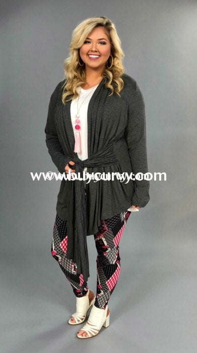 Ot-C Be Bold Charcoal Cardigan W/ Tie Front Outerwear