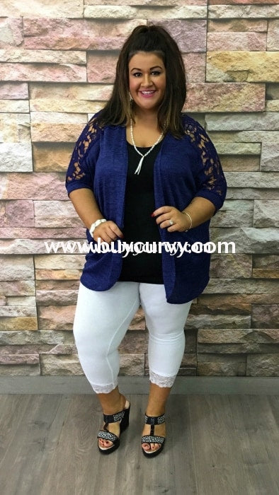 Ot-C Blue Cardi With Crochet Detail Sale!! Outerwear