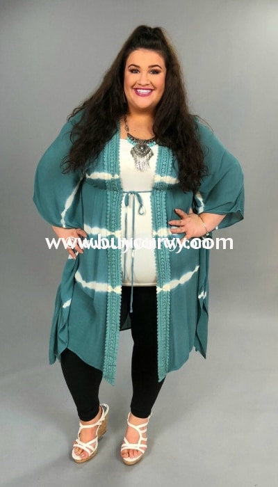 Ot-C Blue {Humble & Kind} Cardigan With Crochet Detail Outerwear