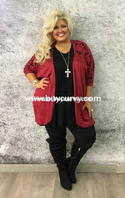 Ot-C Burgundy Cardi With Crochet Detail Sale!! Outerwear