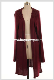Ot-C Burgundy Knit Cardi With Hood & Criss-Cross Sides Sale!! Outerwear
