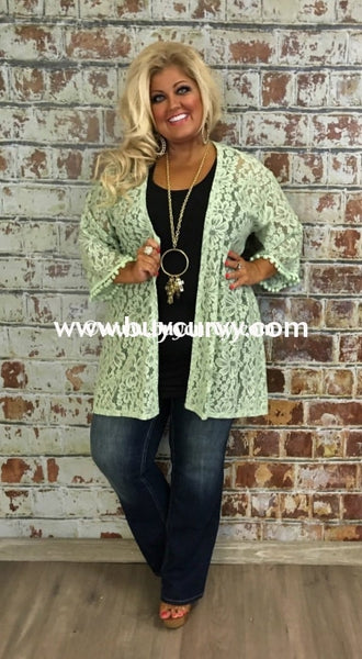 Ot-C Green Lace Cardigan With Pom-Pom Detail Outerwear