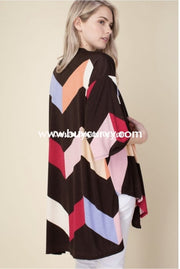 Ot-C {Life Goes On} Colorblock Cardigan With Front Tie Outerwear