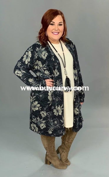 Ot-C {Peace Of Mind} Long Sleeved Floral Knit Cardigan Outerwear