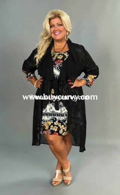 Ot-C {Take The Wheel} Black Sheer Print Roll Tab Cardi Sale!! Outerwear