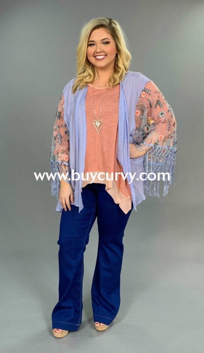 Ot-D Blue Fringed Card With Floral Sheer Sleeves Sale!! Outerwear