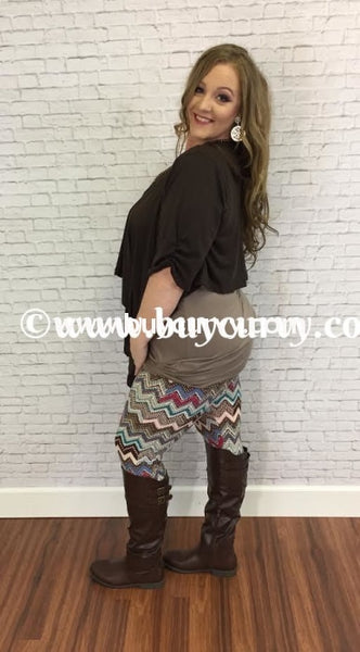 Ot-D Brown Yummy Plus Bolero Style Top Outerwear