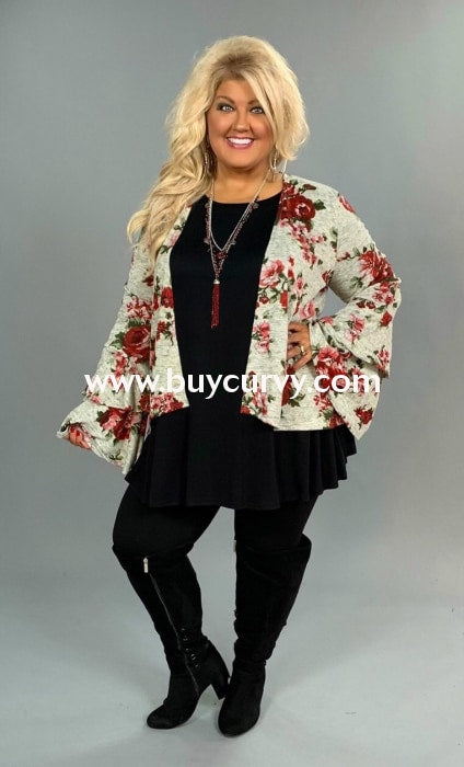 Ot-D Gray/burgundy Floral Cardigan Double Ruffle Sleeves Outerwear