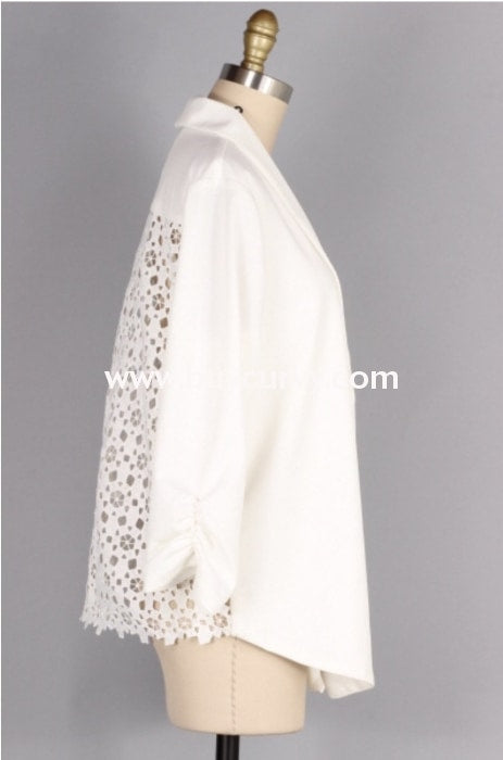 Ot-D {Lush Fashion} Ivory Dress Jacket With Crochet Back Outerwear