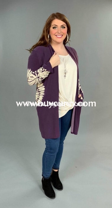 Ot-D {On The Warpath} Purple Cardigan With Tie-Dye Detail Outerwear