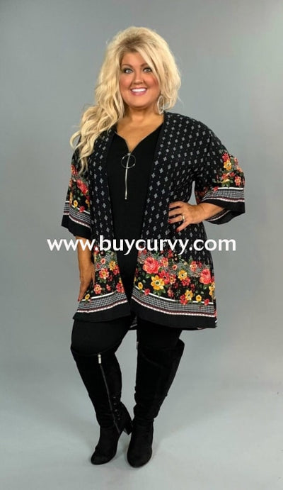 Ot-D {Plain Jane} Black Floral Border Print Cardigan Outerwear