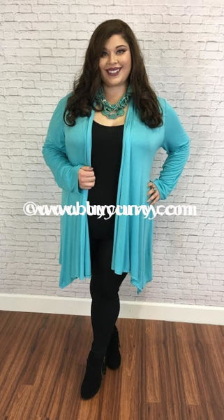 Ot-D Turquoise Asymmetrical Cardigan With Waist Tie Outerwear