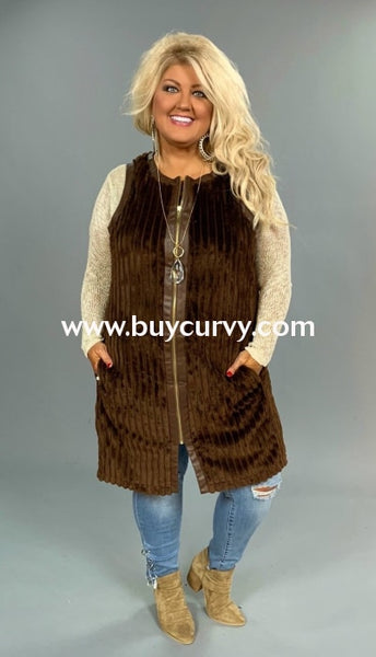 Ot-E {A Thing Of Beauty} Brown Velour Vest With Zip Front Outerwear