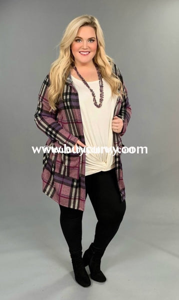 Ot-E {Berry Patch} Purple & Lavender Plaid Cardigan With Hood Outerwear