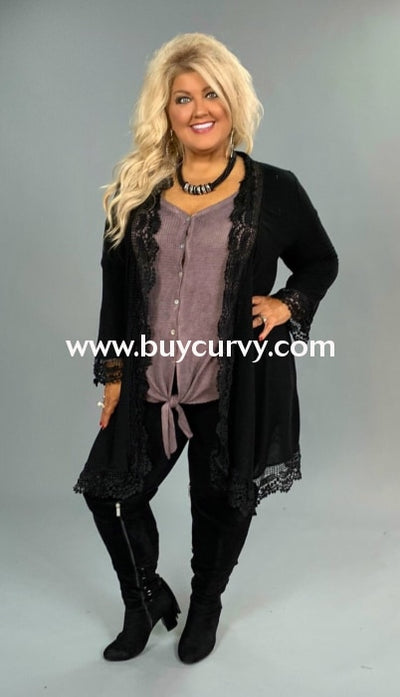 Ot-E Black Cardigan With Embroidery Lace Detailing Outerwear