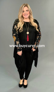 Ot-E Edge Right Now Black Floral Sleeves Elbow Cardigan Outerwear