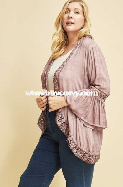 Ot-E Entro Plum Cardigan With Crochet Detail & Bell Sleeves Outerwear