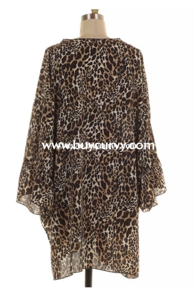 Ot-E {Exciting Thought} Leopard Print Cardigan With Ruffle Sleeves Extended Plus Outerwear
