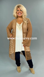 Ot-E {Its Meant To Be} Tan Long Cardigan With Lace Detail Outerwear