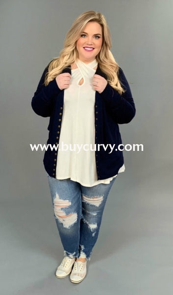 Ot-E {Made You Smile} Navy Snap-Front Soft Sweater Cardigan Outerwear