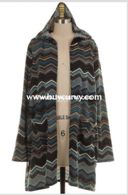 Ot-E {Once In A Blue Moon} Chevron Knit Cardigan With Hood Outerwear