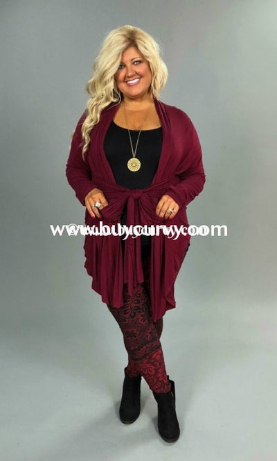 Ot-F Be Bold Burgundy Cardigan W/ Tie Front Outerwear