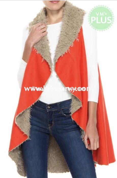 Ot-F {Greatest Love} Tomato Red Faux Fur & Suede Vest Outerwear