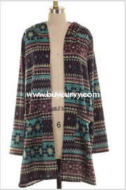 Ot-F {Moonlight Melody} Printed Knit Cardigan With Hood Outerwear