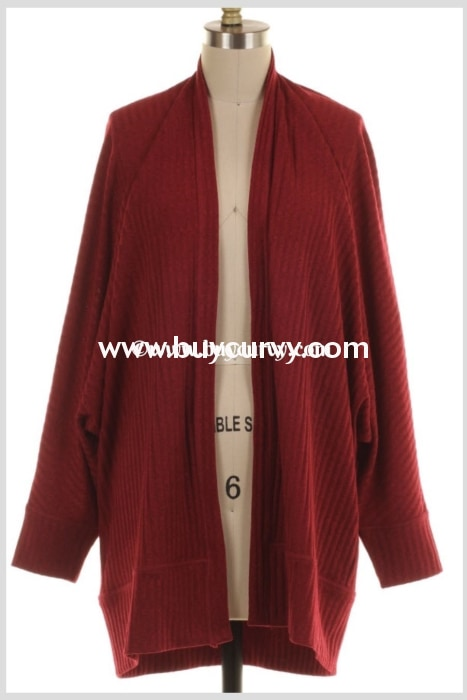 Ot-F {Simplicity Is Key} Burgundy Ribbed Cardigan Outerwear