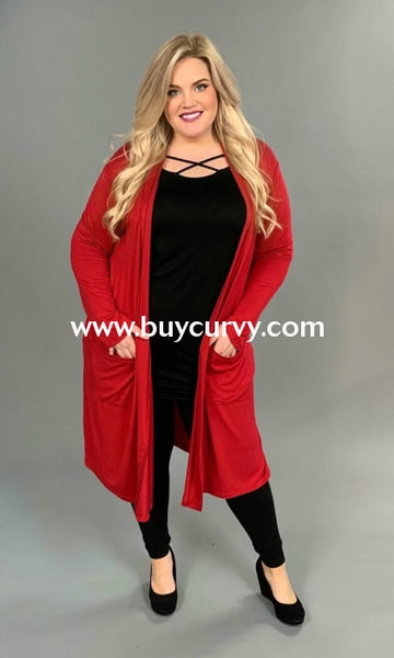 Ot-F {Style Network} Red Duster Style Cardigan W/ Pockets Outerwear