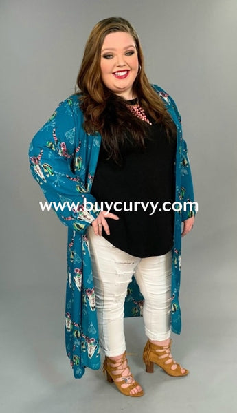 Ot-G {Cant Live Without} Teal Cardi With Floral Bullhead Print Sale!! Outerwear