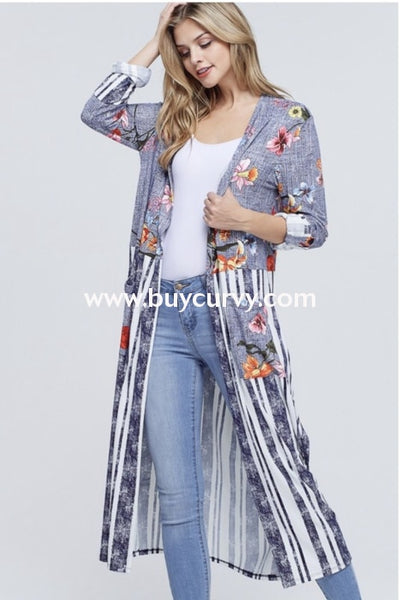 Ot-G {Take A Chance} Navy Contrast Striped Floral Print Cardigan Outerwear