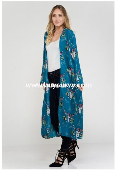 Ot-G Teal Cardi With Floral Bullhead Print Sale!! Outerwear
