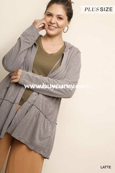 Ot-G {Think Of Me} Umgee Taupe Jacket With Hood Outerwear