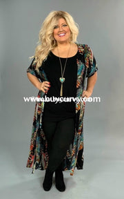 Ot- G Umgee Black/multi Feather Print Cardigan Outerwear