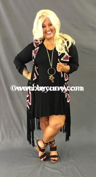 Ot-G Umgee Black/pink With Long Fringe Sale!! Outerwear