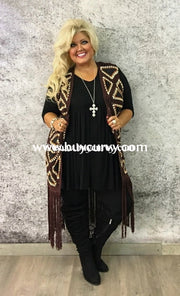 Ot-G Umgee Burgundy/ivory Long With Fringes Sale!! Outerwear