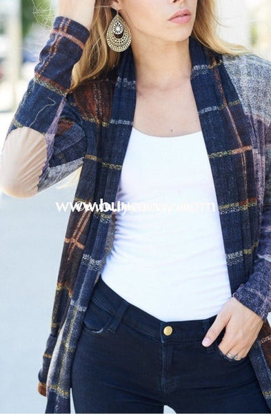 Ot-G {Wear This Anywhere} Navy/orchid Plaid Knit Cardigan Outerwear