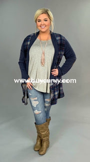Ot-H {Blue Monday} Stretchy Knit Blue/pink Plaid Cardigan Outerwear