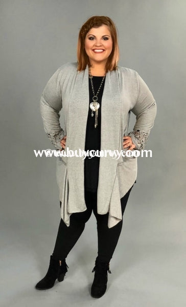 Ot-H {Casual Surprise} Gray Knit Cardigan With Crochet Detail Outerwear