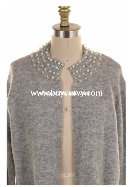 Ot-H {On Cloud Nine} Gray Sweater Cardigan With Pearl Detail Outerwear