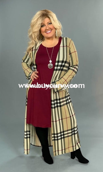 Ot-H {Shes Got Style} Burberry Print Long Cardigan Outerwear