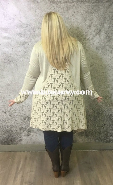 Ot-I Alabaster Cardigan With Lace/crochet Back Outerwear