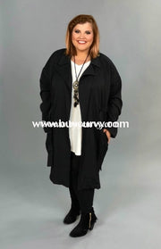 Ot-I Umgee Long Black Coat Elastic Draw String Waist Outerwear