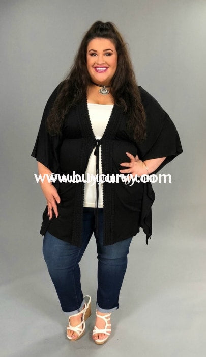Ot-J Black Humble & Kind Open Cardigan With Embroidery Outerwear