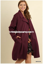 Ot-J Umgee Long Wine Coat Elastic Draw String Waist Outerwear