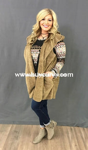 Ot-K Oddi Tan Fuzzy Hooded With Side Pockets Sale!! Outerwear